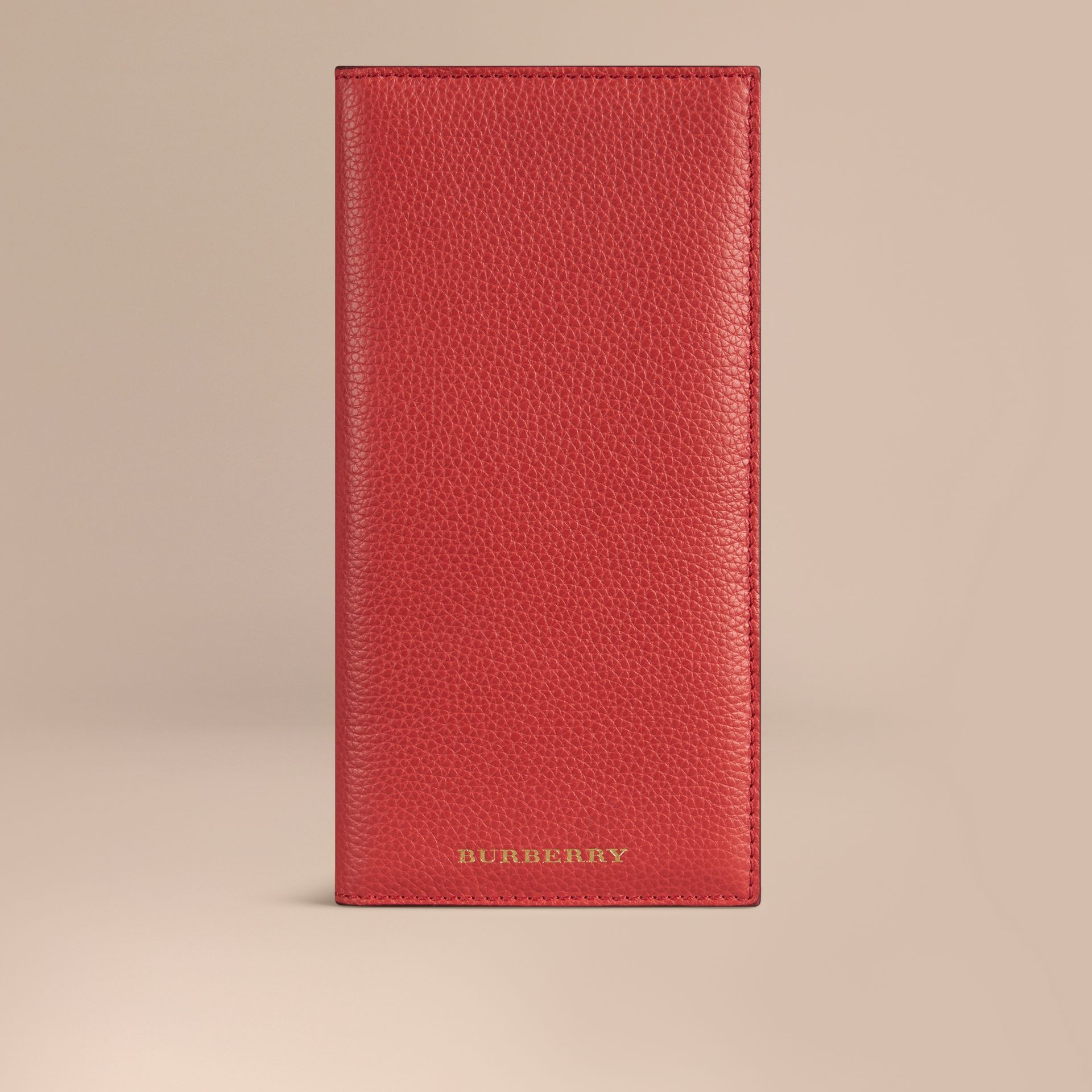 Grainy Leather Travel Card Case in Orange Red | Burberry - gallery image 1