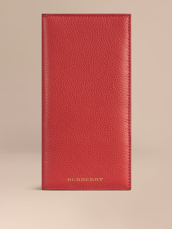 Grainy Leather Travel Card Case Orange Red