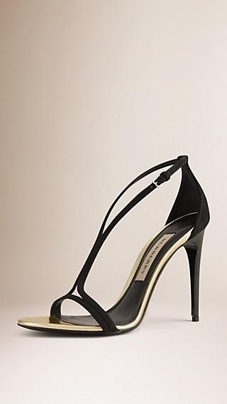 Slim Strap Suede Sandals