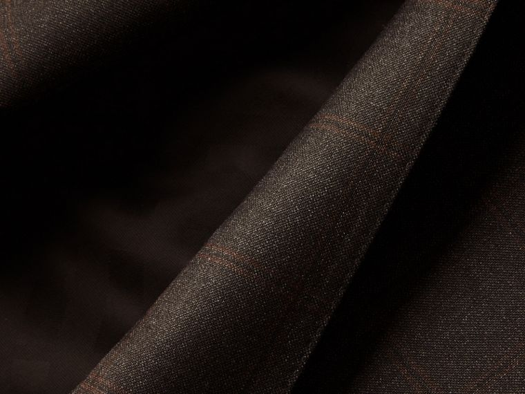Dark brown Slim Fit Check Wool Travel Tailoring Suit - cell image 1