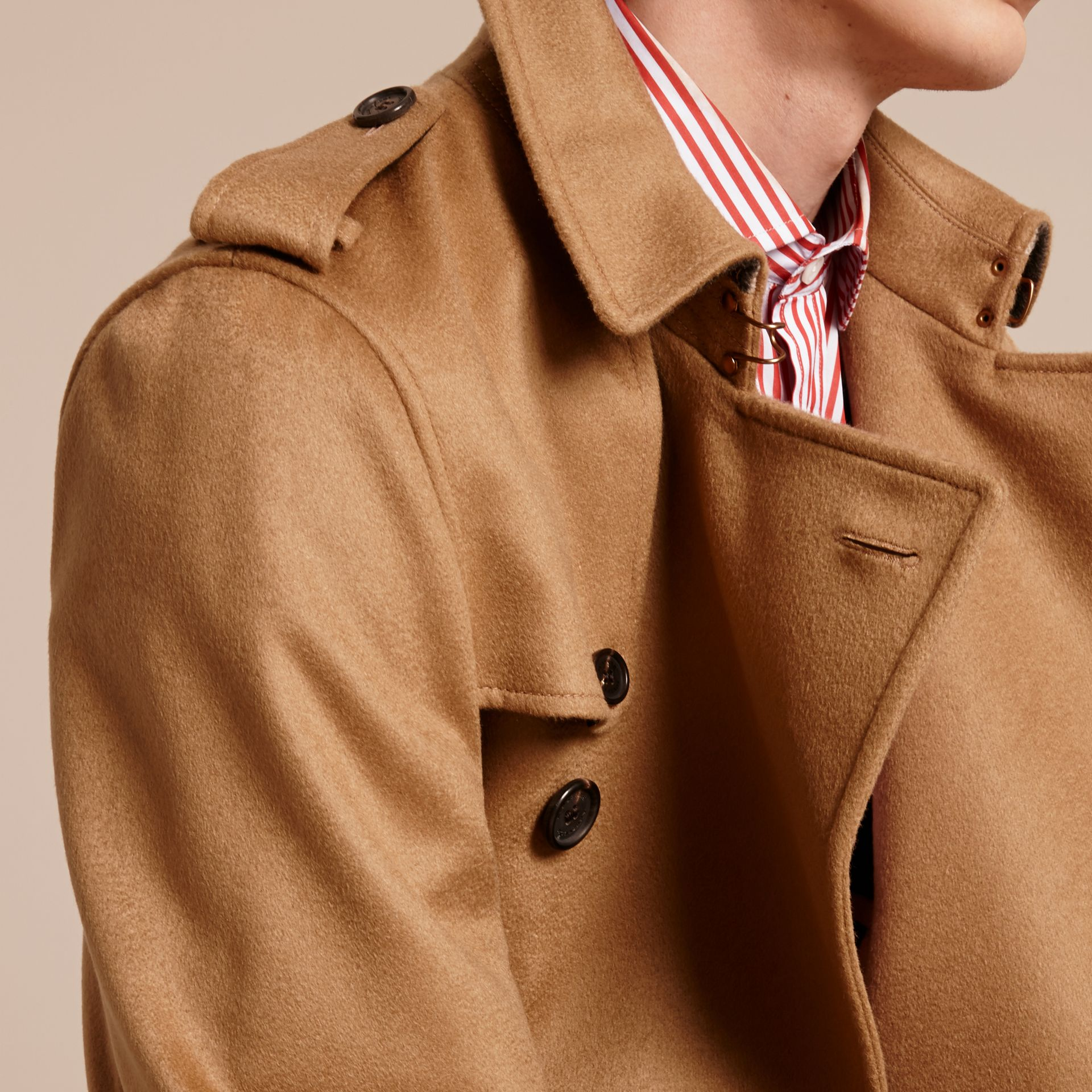 Cashmere Trench Coat Dark Camel - gallery image 5