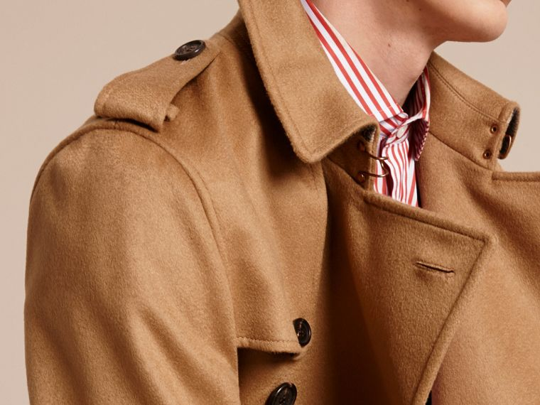 Cashmere Trench Coat in Dark Camel - Men | Burberry - cell image 4
