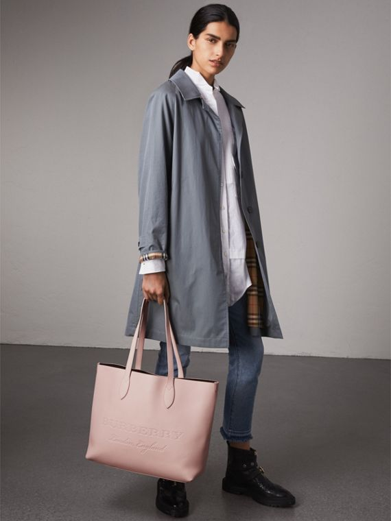 Embossed Leather Tote in Pale Ash Rose | Burberry - cell image 2
