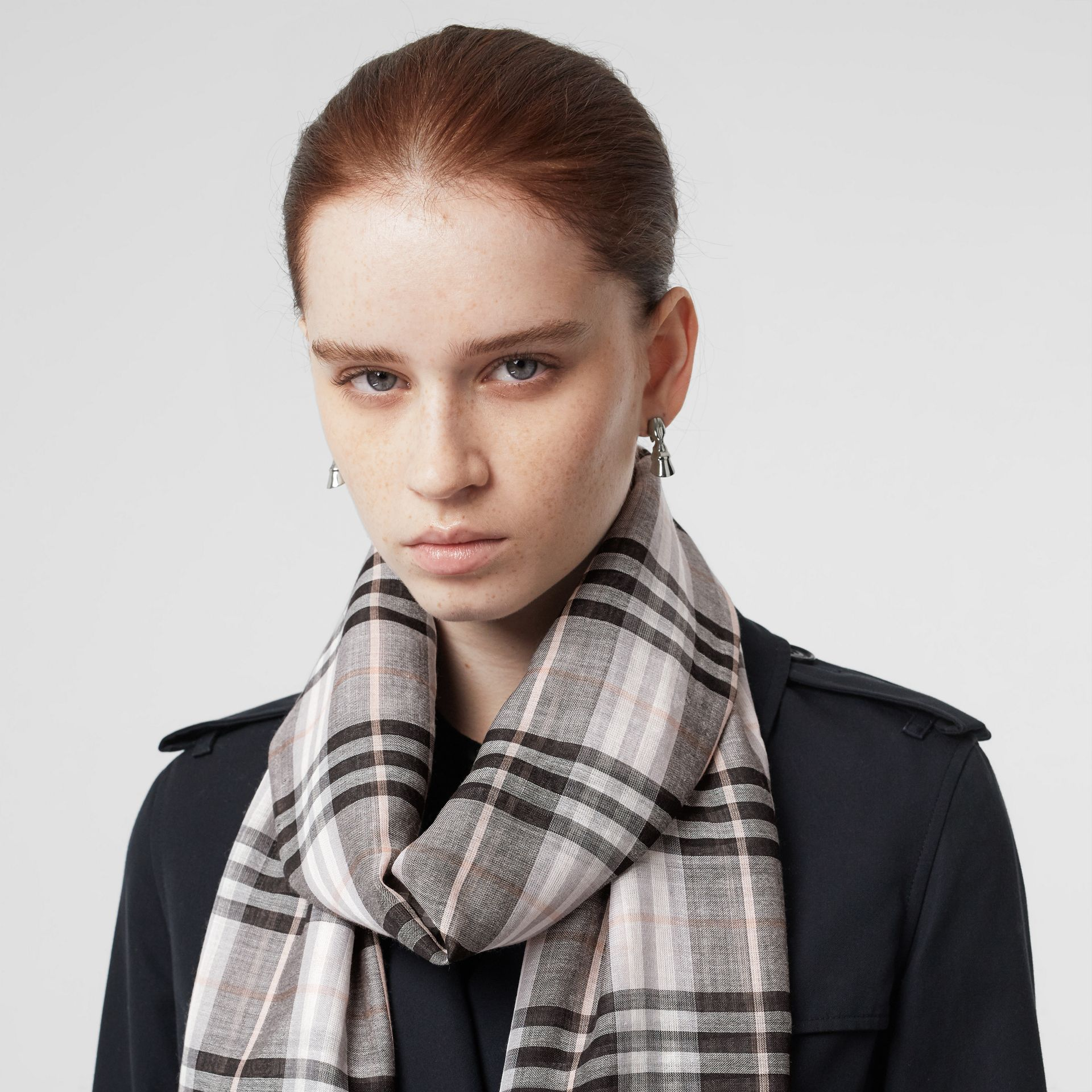 Vintage Check Lightweight Wool Silk Scarf in Apricot | Burberry - gallery image 2
