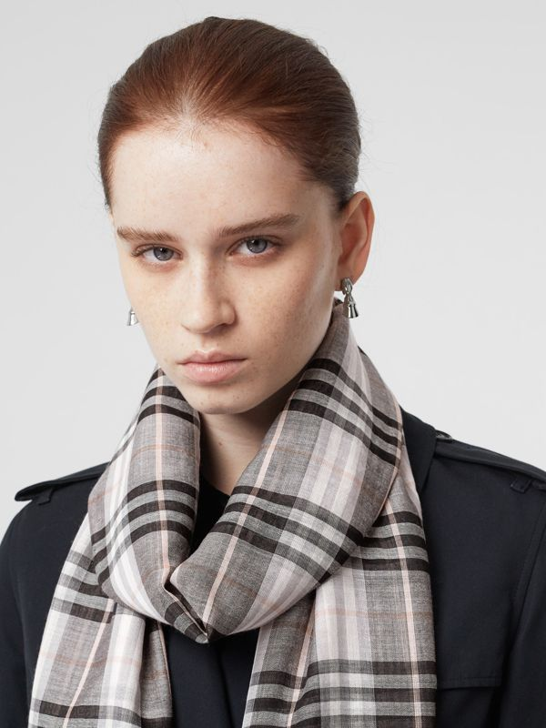 Vintage Check Lightweight Wool Silk Scarf in Apricot | Burberry Australia - cell image 2