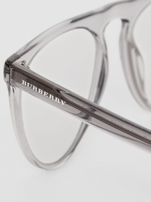 Keyhole D-shaped Optical Frames in Grey - Men | Burberry - cell image 1