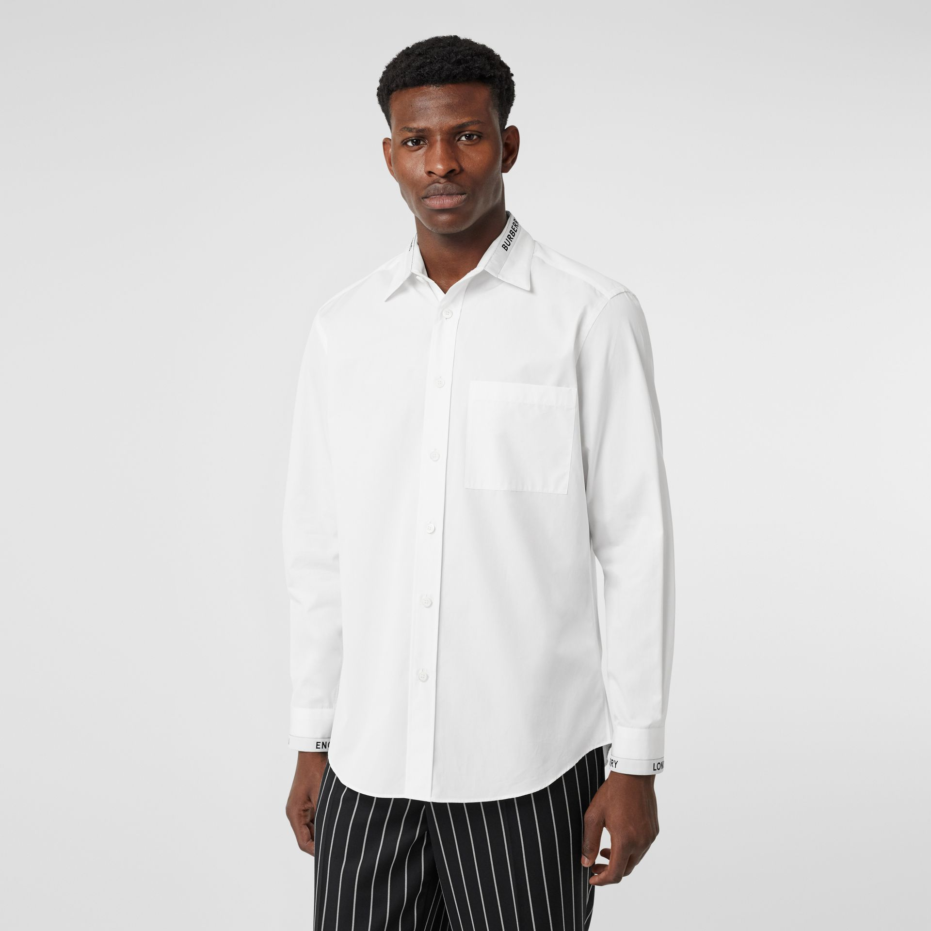 Logo Detail Cotton Poplin Shirt in White - Men | Burberry Australia - gallery image 0