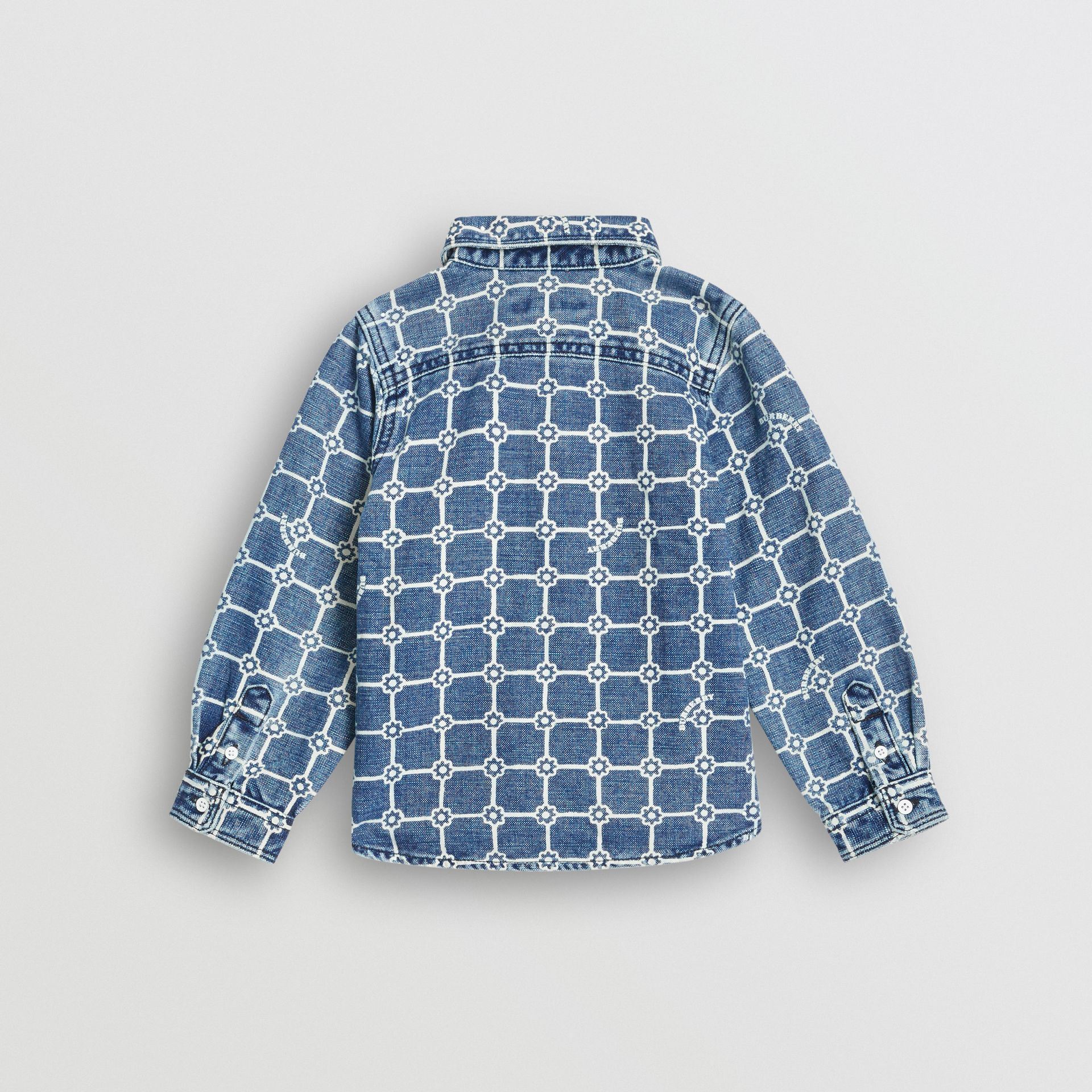 Flower Print Cotton Linen Shirt in Indigo | Burberry United States - gallery image 3