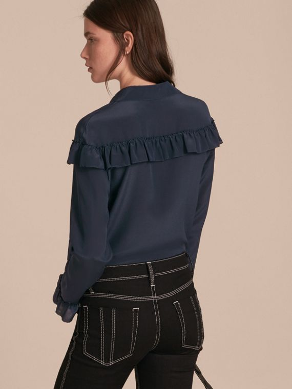 Frill Detail Silk Crepe De Chine Shirt in Navy - cell image 2