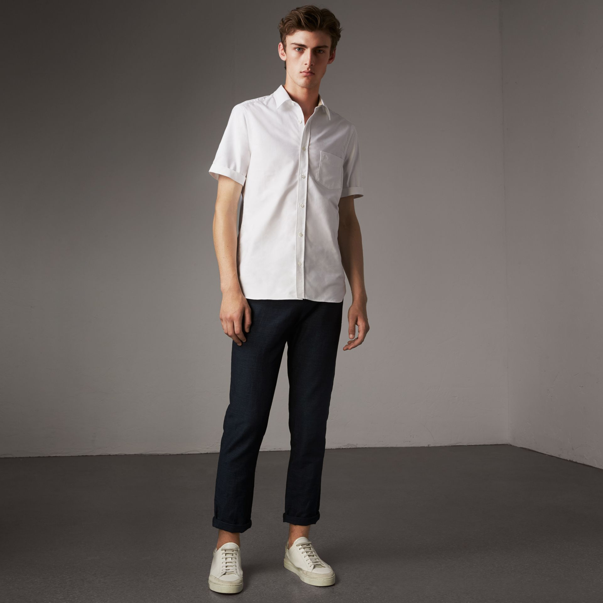Check Detail Short-Sleeved Cotton Oxford Shirt in White - Men | Burberry Canada - gallery image 0