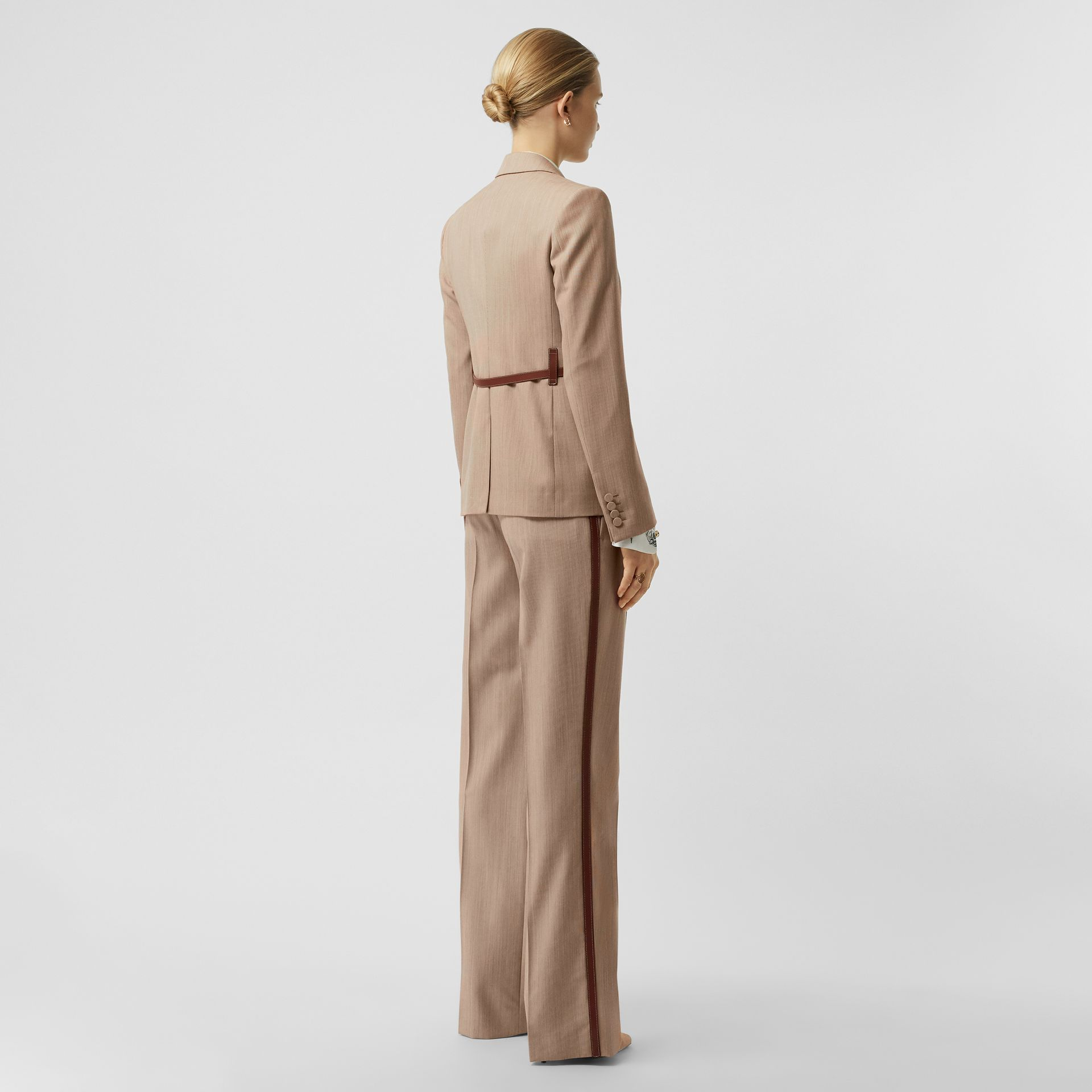Leather Harness Detail Wool Tailored Jacket in Camel Melange - Women | Burberry - gallery image 2