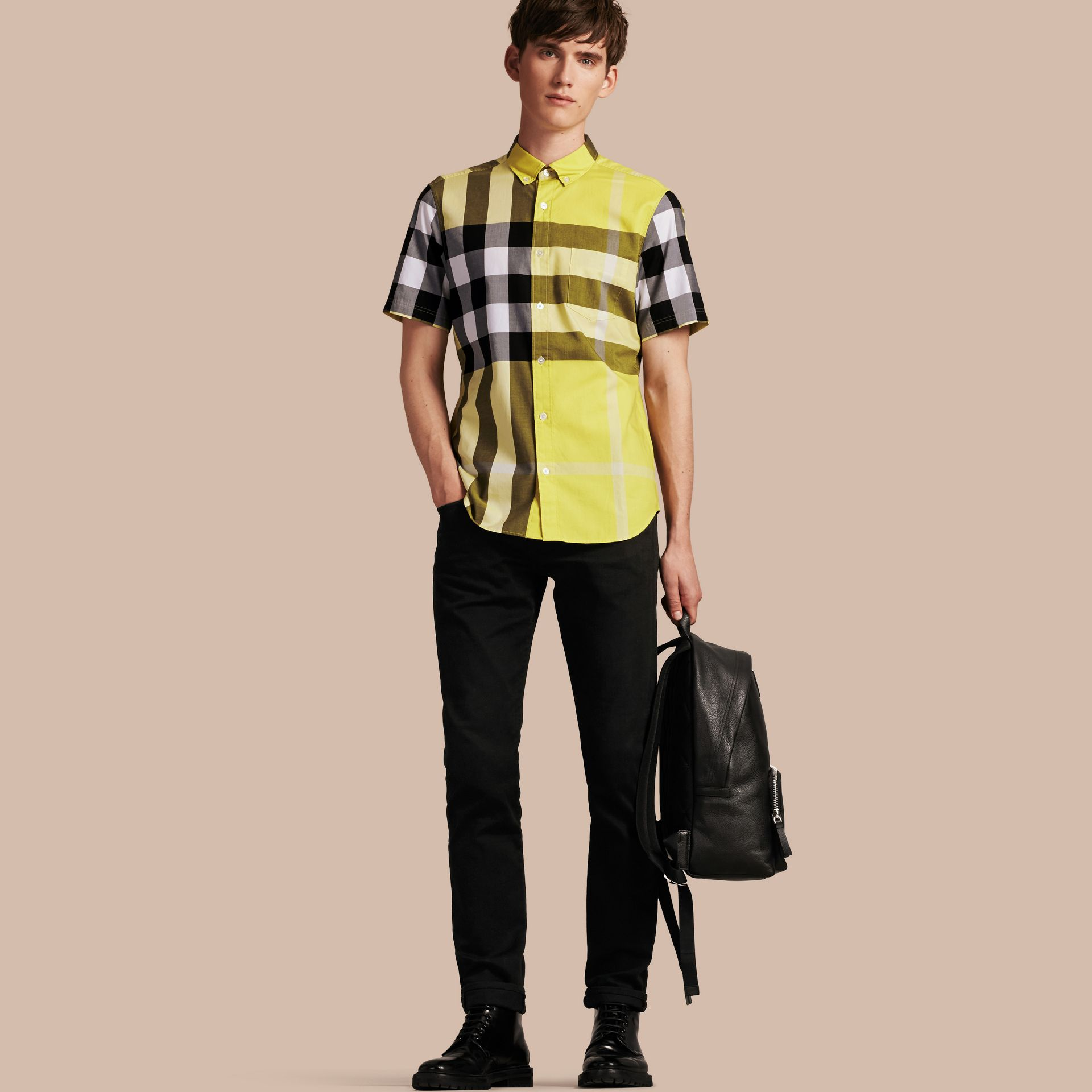 Pale yellow Short-sleeved Check Cotton Shirt Pale Yellow - gallery image 1