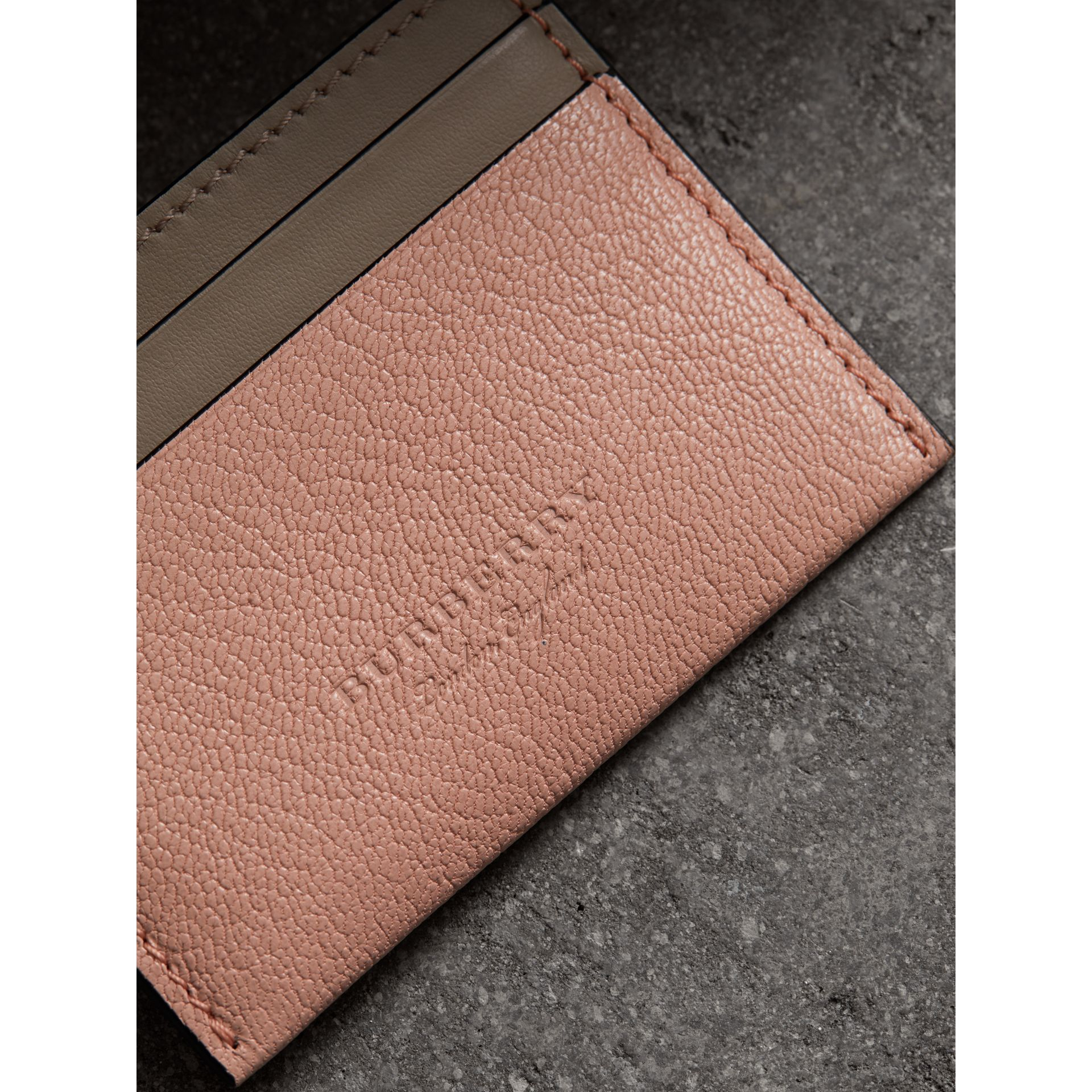 Two-tone Leather Card Case in Pale Ash Rose - Women | Burberry - gallery image 1
