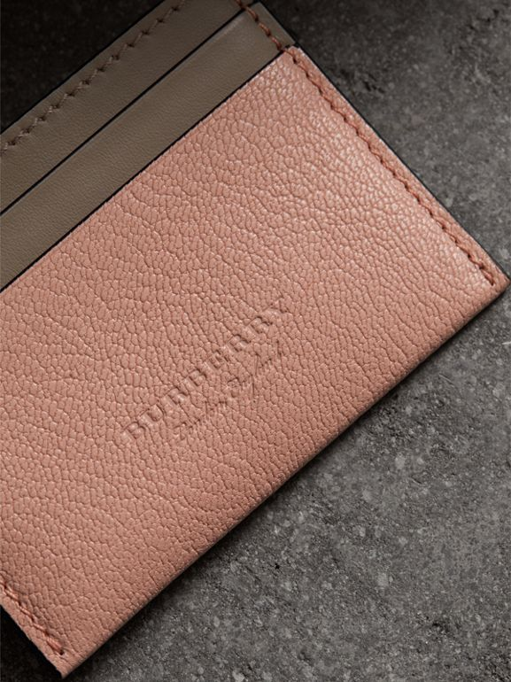 Two-tone Leather Card Case in Pale Ash Rose - Women | Burberry United Kingdom - cell image 1