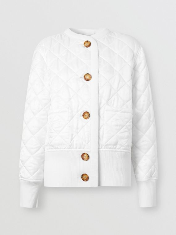 Logo Jacquard Diamond Quilted and Wool Blend Jacket in White