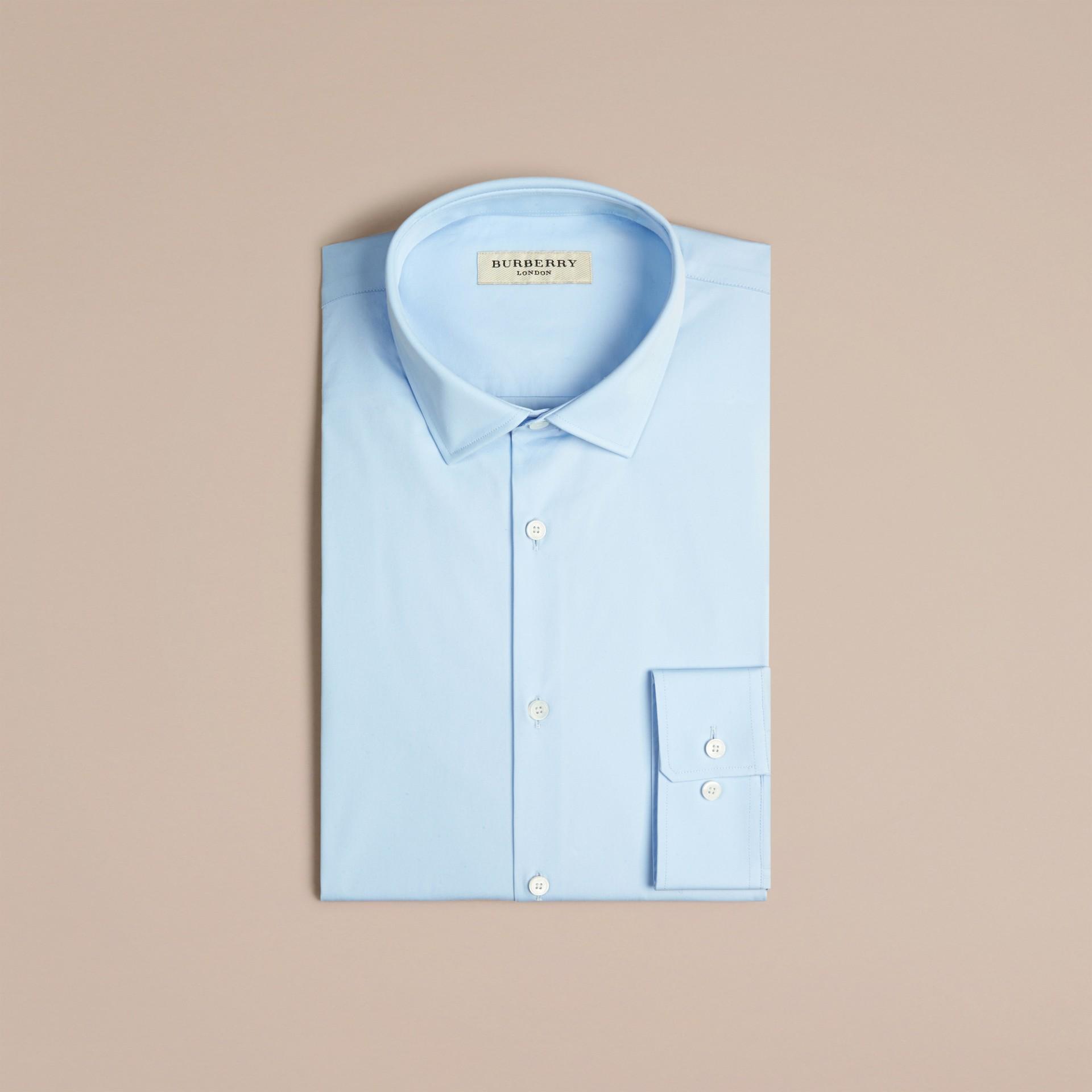 Bleu dragée Chemise moderne en coton extensible Bleu Dragée - photo de la galerie 4