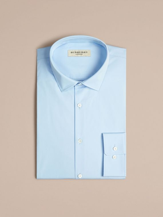 Modern Fit Stretch Cotton Shirt in City Blue - Men | Burberry