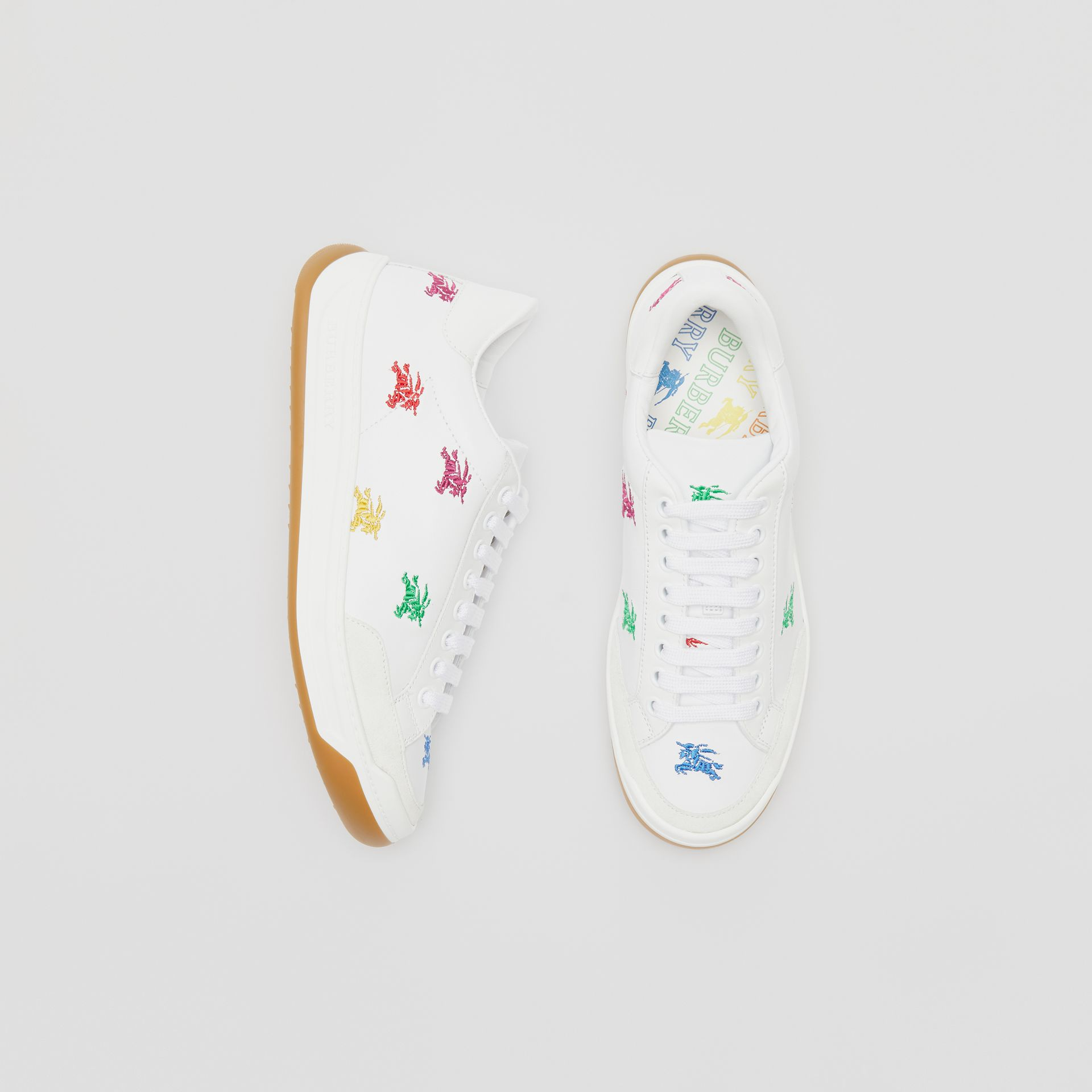 Equestrian Knight Embroidered Leather Sneakers in Optic White/multicolour - Women | Burberry - gallery image 0