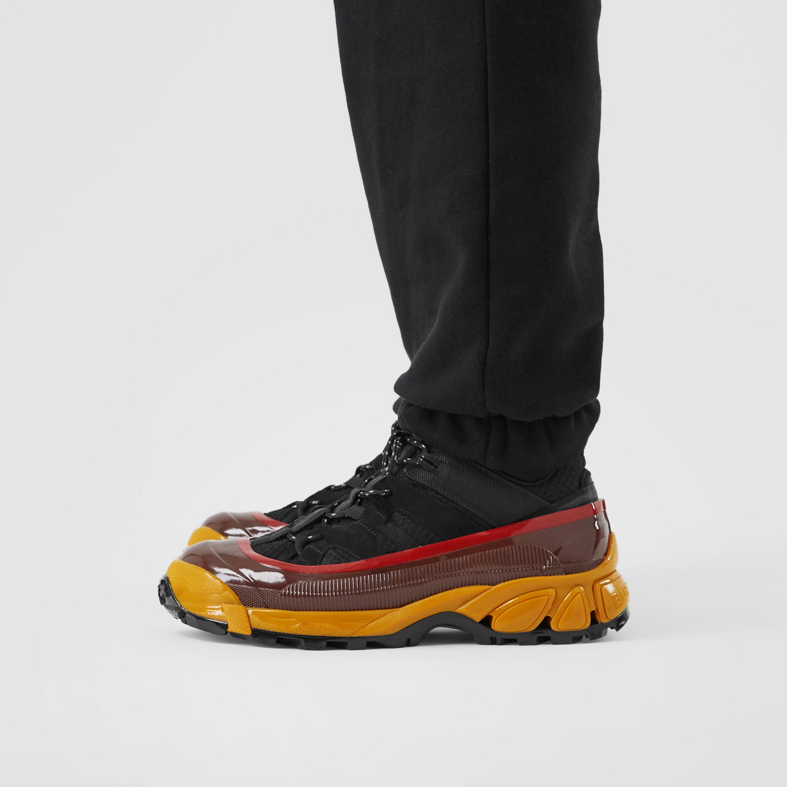 Mesh, Nylon and Nubuck Arthur Sneakers in Black/yellow - Men | Burberry Canada - 3