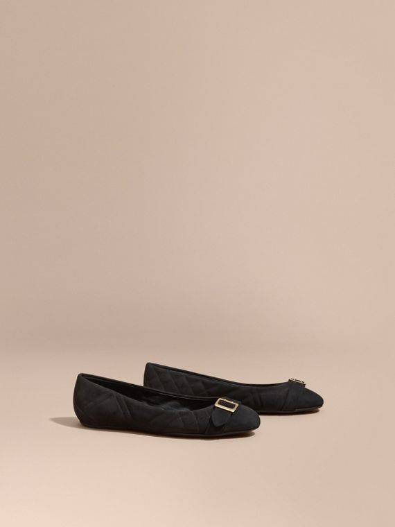 Buckle Detail Quilted Suede Ballerinas in Black