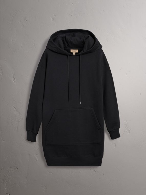 Embroidered Hood Sweatshirt Dress in Black - Women | Burberry United Kingdom - cell image 3