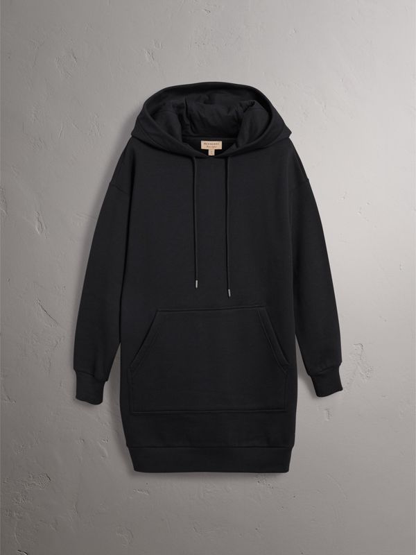 Embroidered Hood Sweatshirt Dress in Black - Women | Burberry - cell image 3