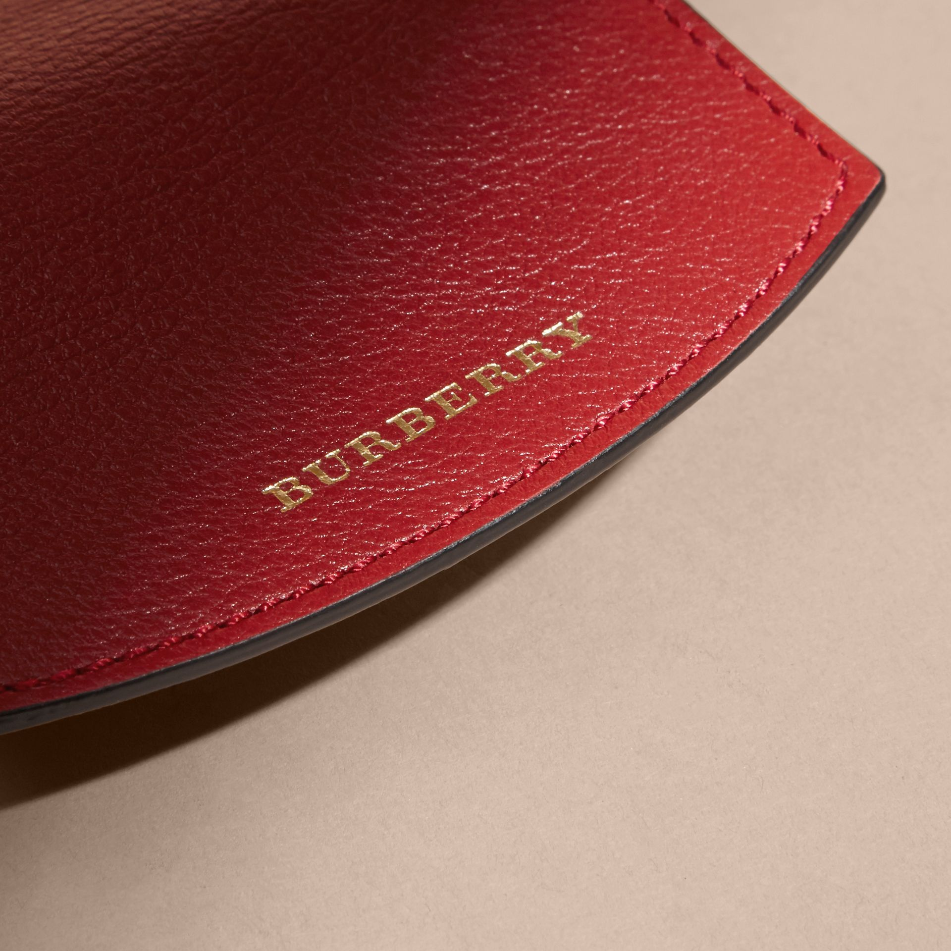 Horseferry Check and Leather Card Case in Parade Red - gallery image 2
