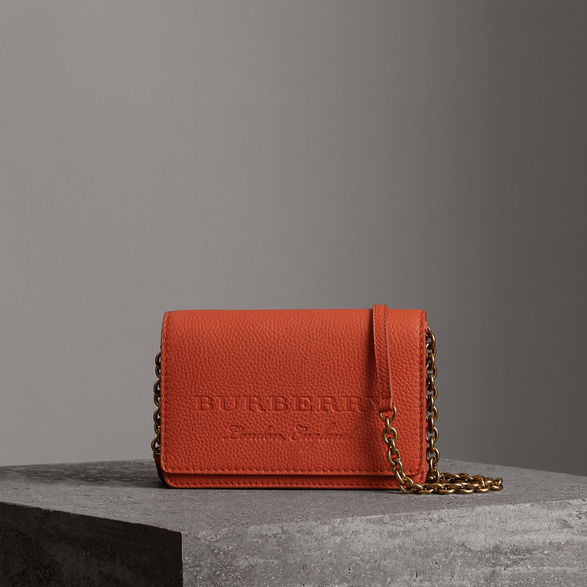 Embossed Leather Wallet with Detachable Strap in Dark Clementine - Women | Burberry United States - gallery image 0