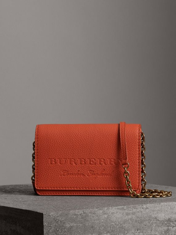 Embossed Leather Wallet with Detachable Strap in Dark Clementine