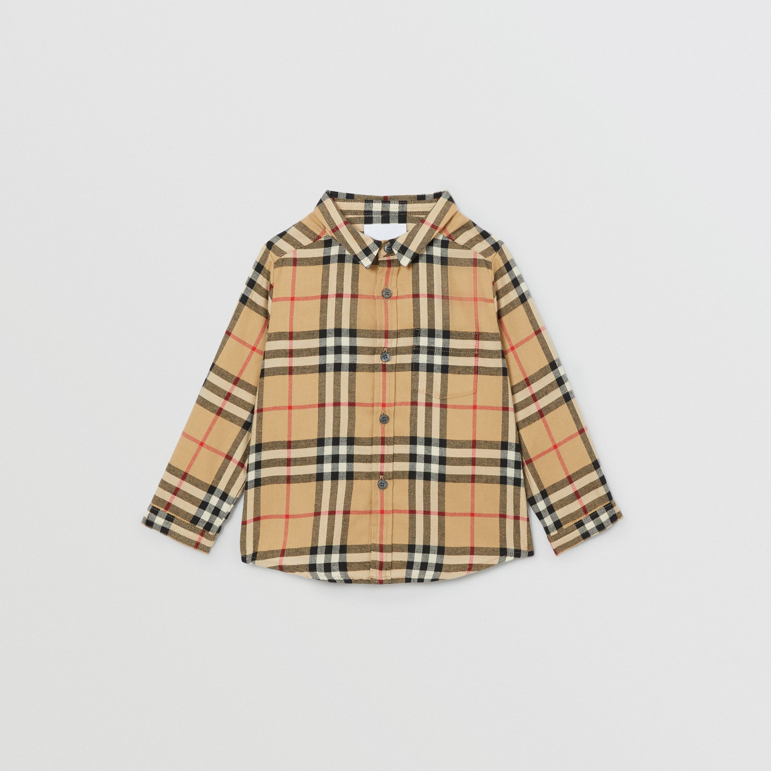 Vintage Check Cotton Flannel Shirt in Archive Beige - Children | Burberry - 1