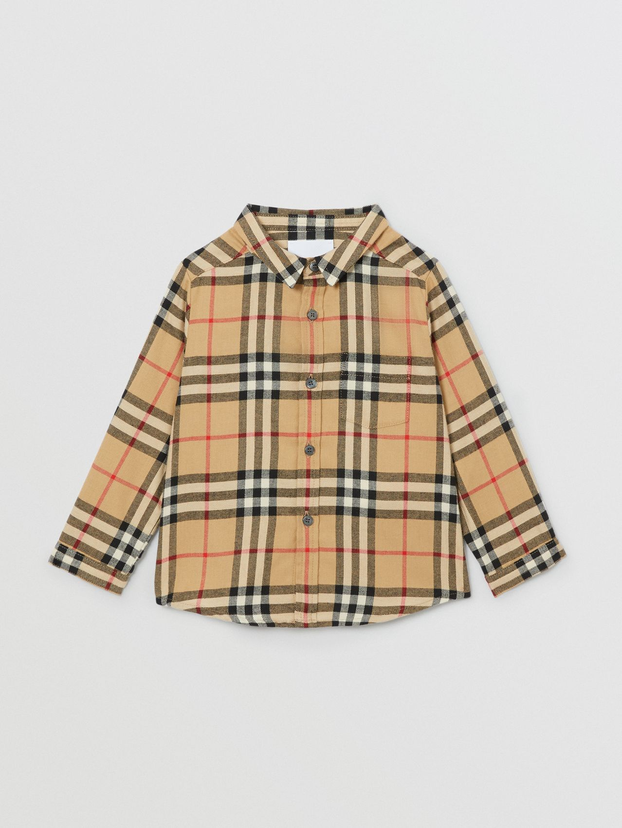 Vintage Check Cotton Flannel Shirt in Archive Beige