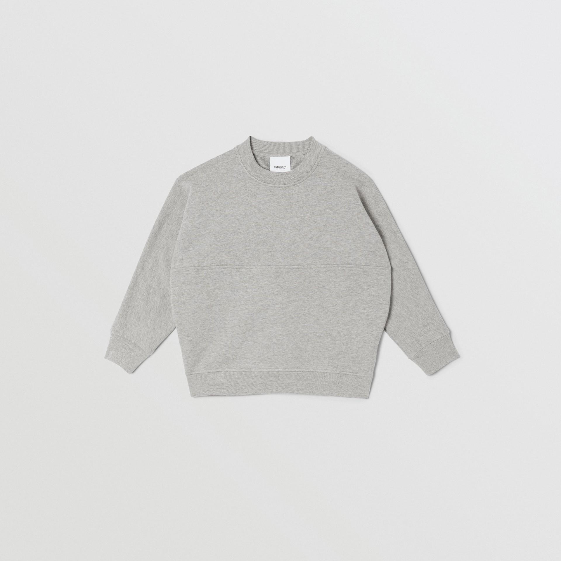Logo Print Cotton Sweatshirt in Grey Melange/black   Burberry United States - gallery image 0