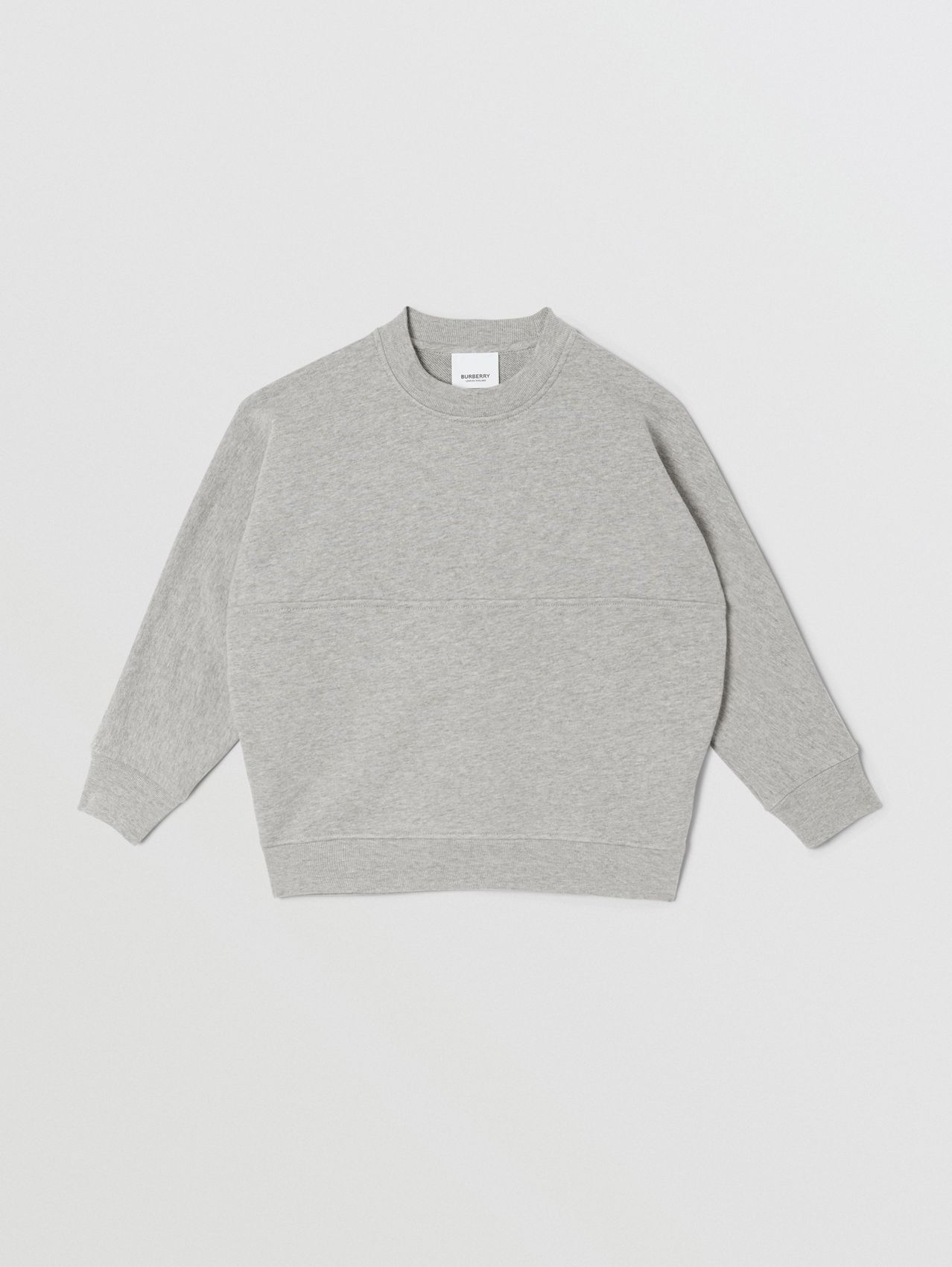Logo Print Cotton Sweatshirt in Grey Melange/black