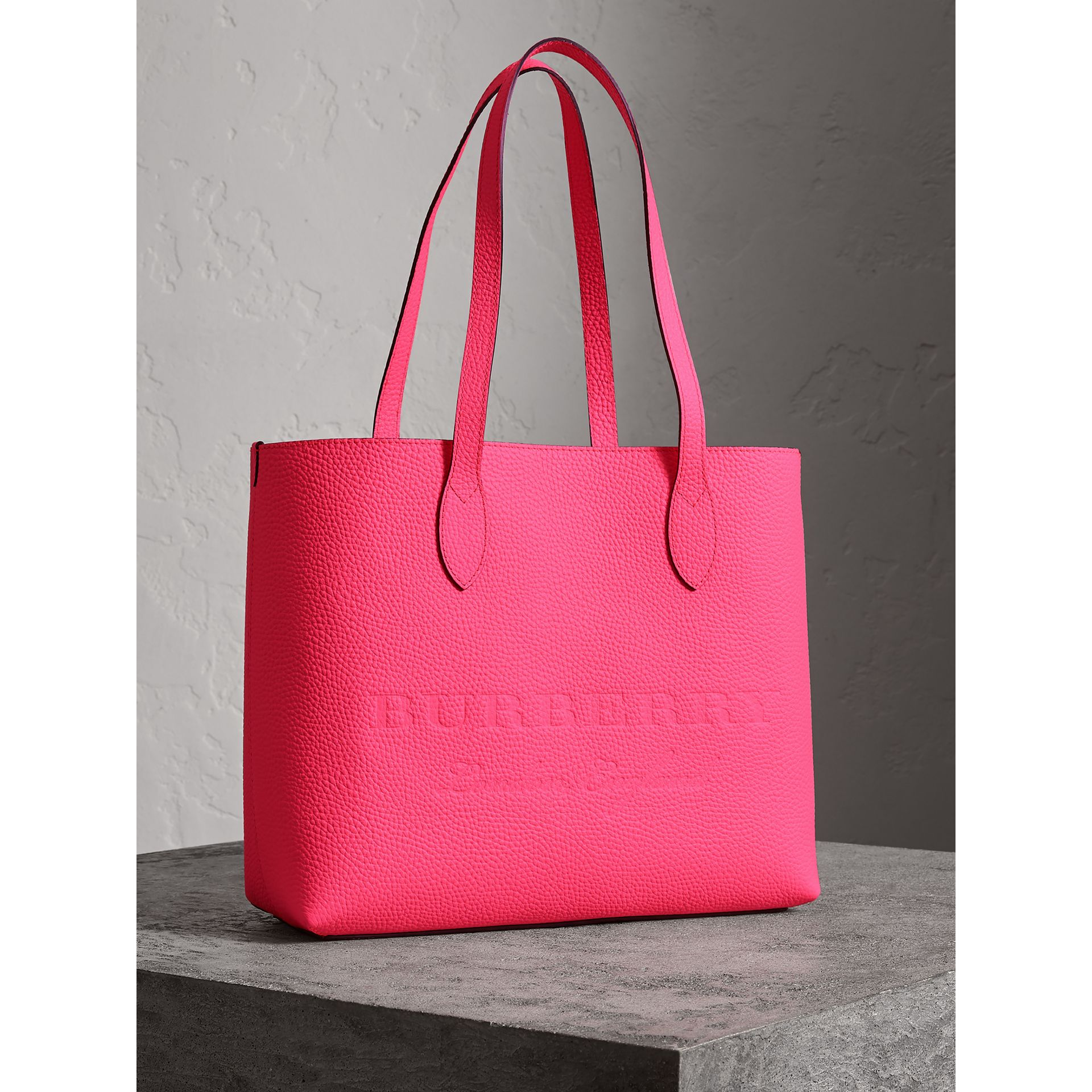 Embossed Leather Tote in Neon Pink | Burberry - gallery image 6