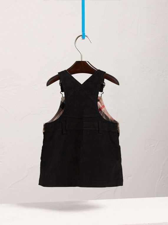 Cotton Corduroy Pinafore Dress in Black | Burberry Canada - cell image 3