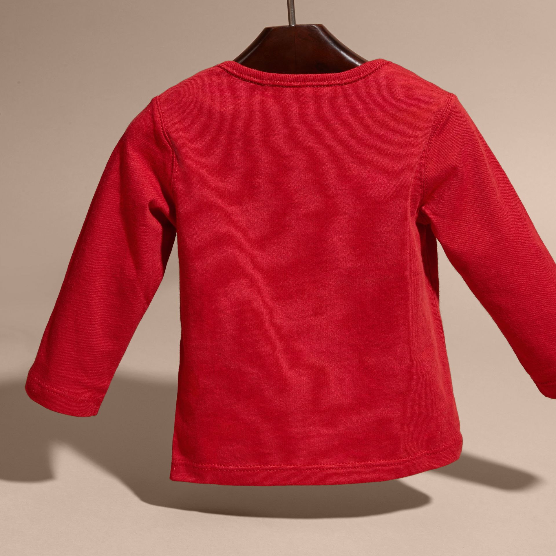 Long-sleeve Check Pocket Cotton T-shirt in Military Red - Boy | Burberry - gallery image 4