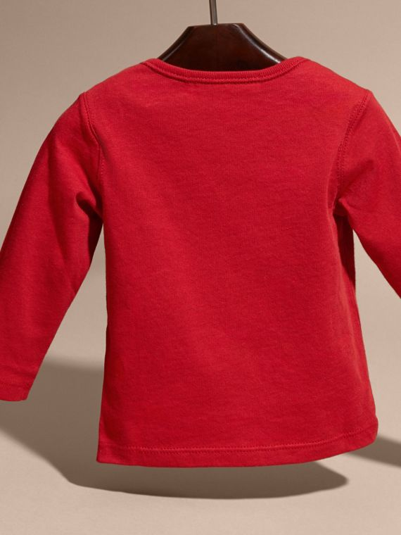 Long-sleeve Check Pocket Cotton T-shirt in Military Red - cell image 3