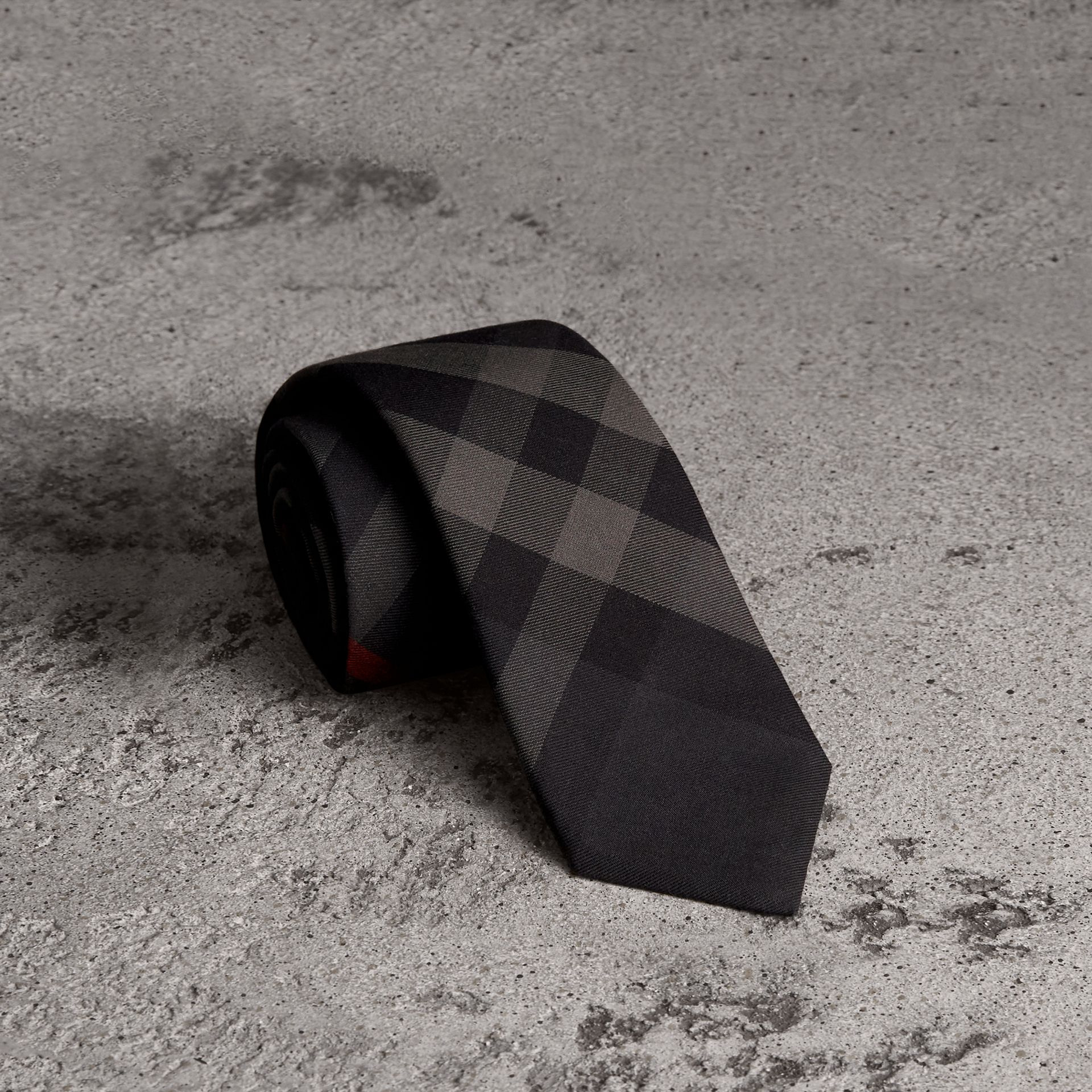Modern Cut Check Cotton Cashmere Tie in Charcoal - Men | Burberry Hong Kong - gallery image 0