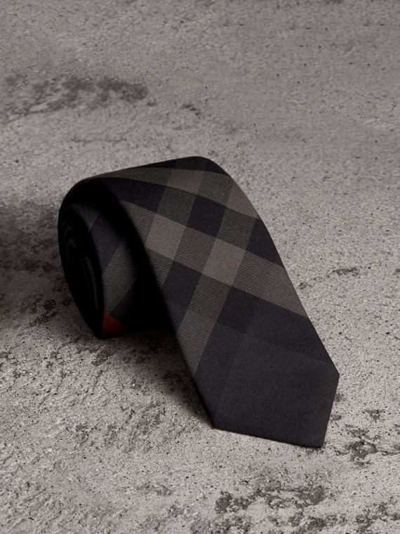 Modern Cut Check Cotton Cashmere Tie in Charcoal