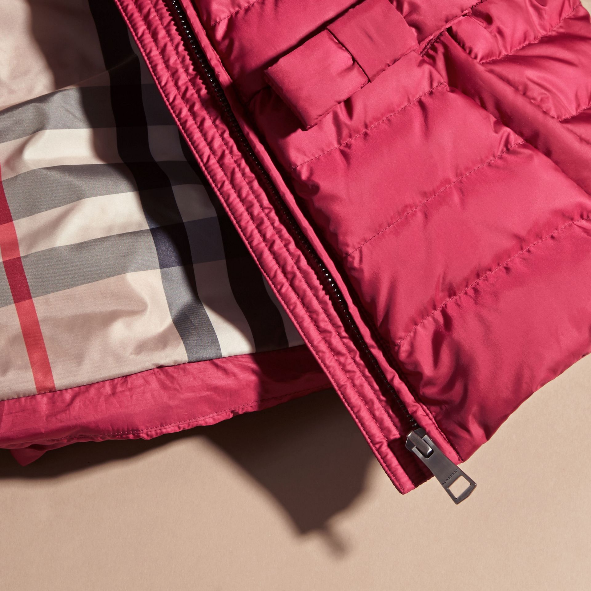 Dark plum pink Bow Detail Puffer Jacket - gallery image 2