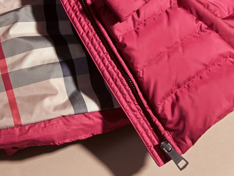 Dark plum pink Bow Detail Puffer Jacket - cell image 1
