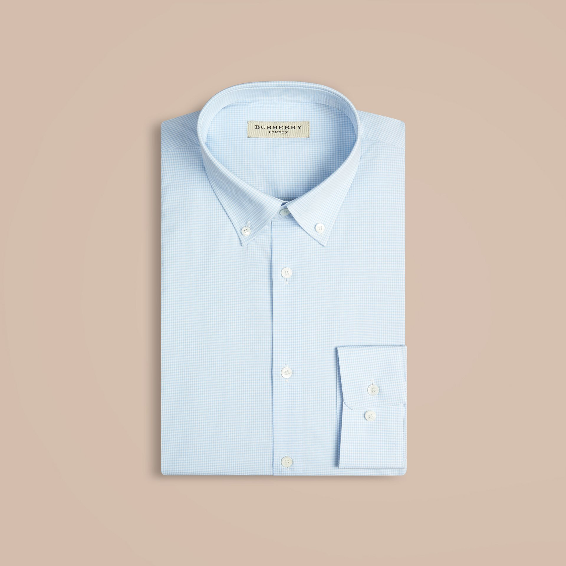 Modern Fit Button-down Collar Gingham Cotton Shirt in City Blue - gallery image 6