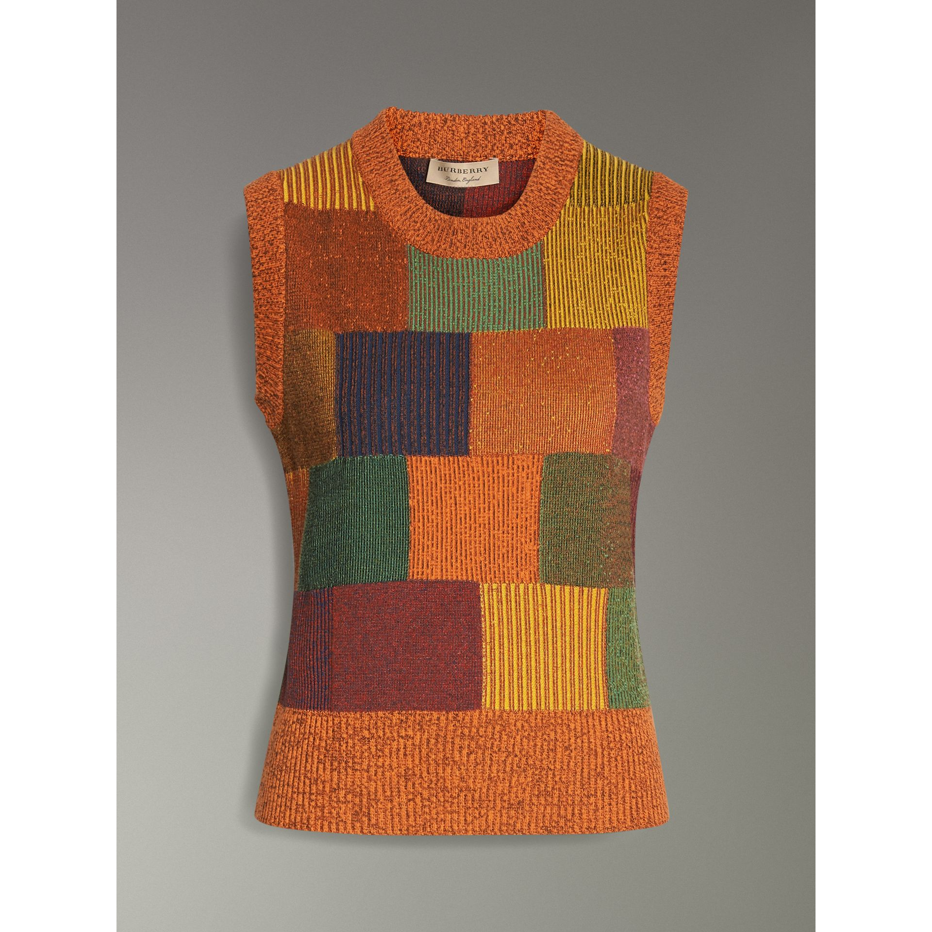 Patchwork Cotton Blend Tank Top in Amber - Women | Burberry - gallery image 3