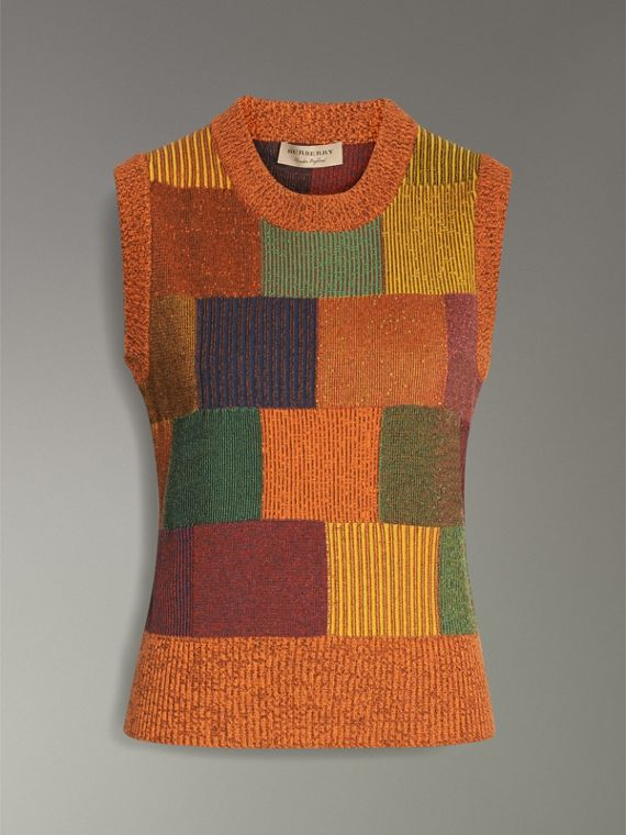 Patchwork Cotton Blend Tank Top in Amber - Women | Burberry Australia - cell image 3