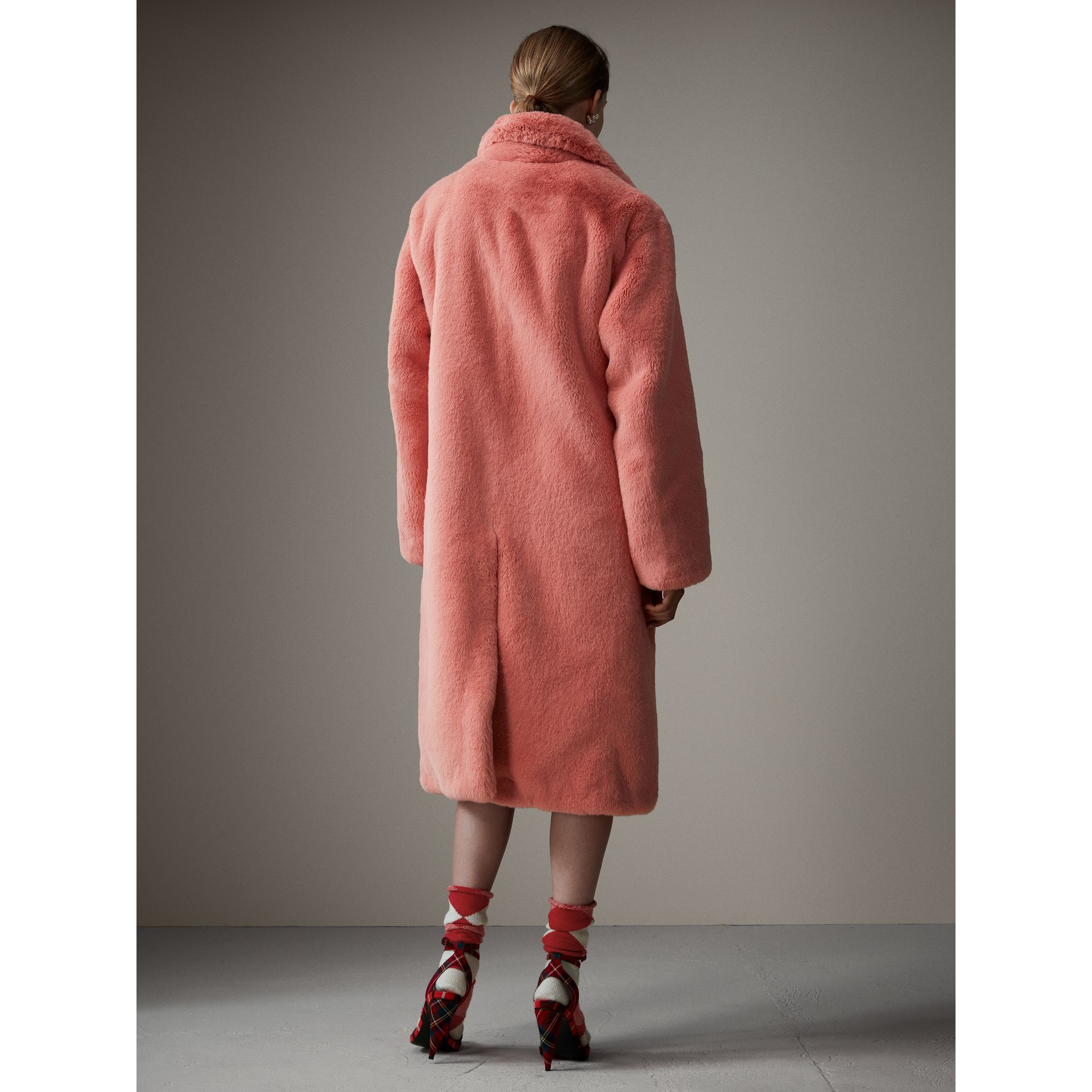 Faux Fur Single-breasted Coat in Pale Pink - Women | Burberry - gallery image 3