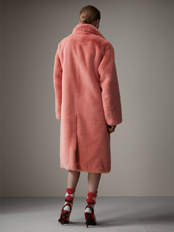 Faux Fur Single-breasted Coat in Pale Pink - Women | Burberry - cell image 2
