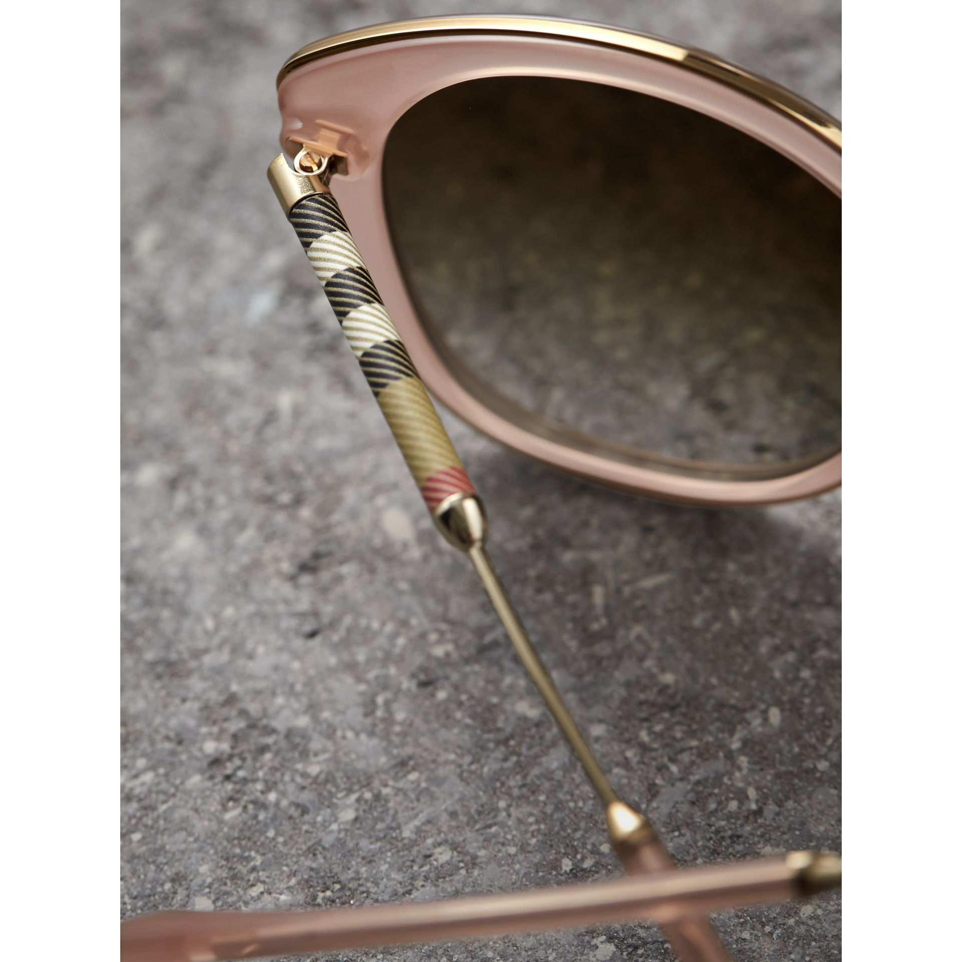 Check Detail Round Frame Sunglasses in Rose Pink - Women | Burberry - gallery image 2