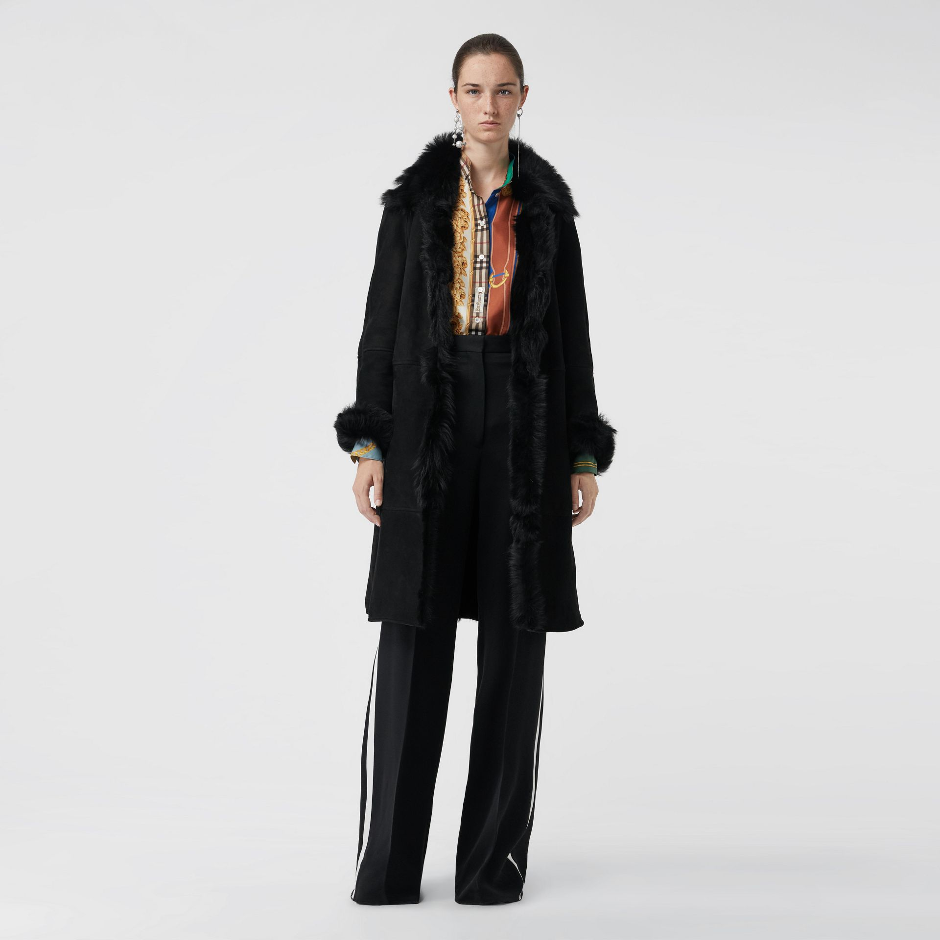 Shearling Car Coat in Black - Women | Burberry - gallery image 0
