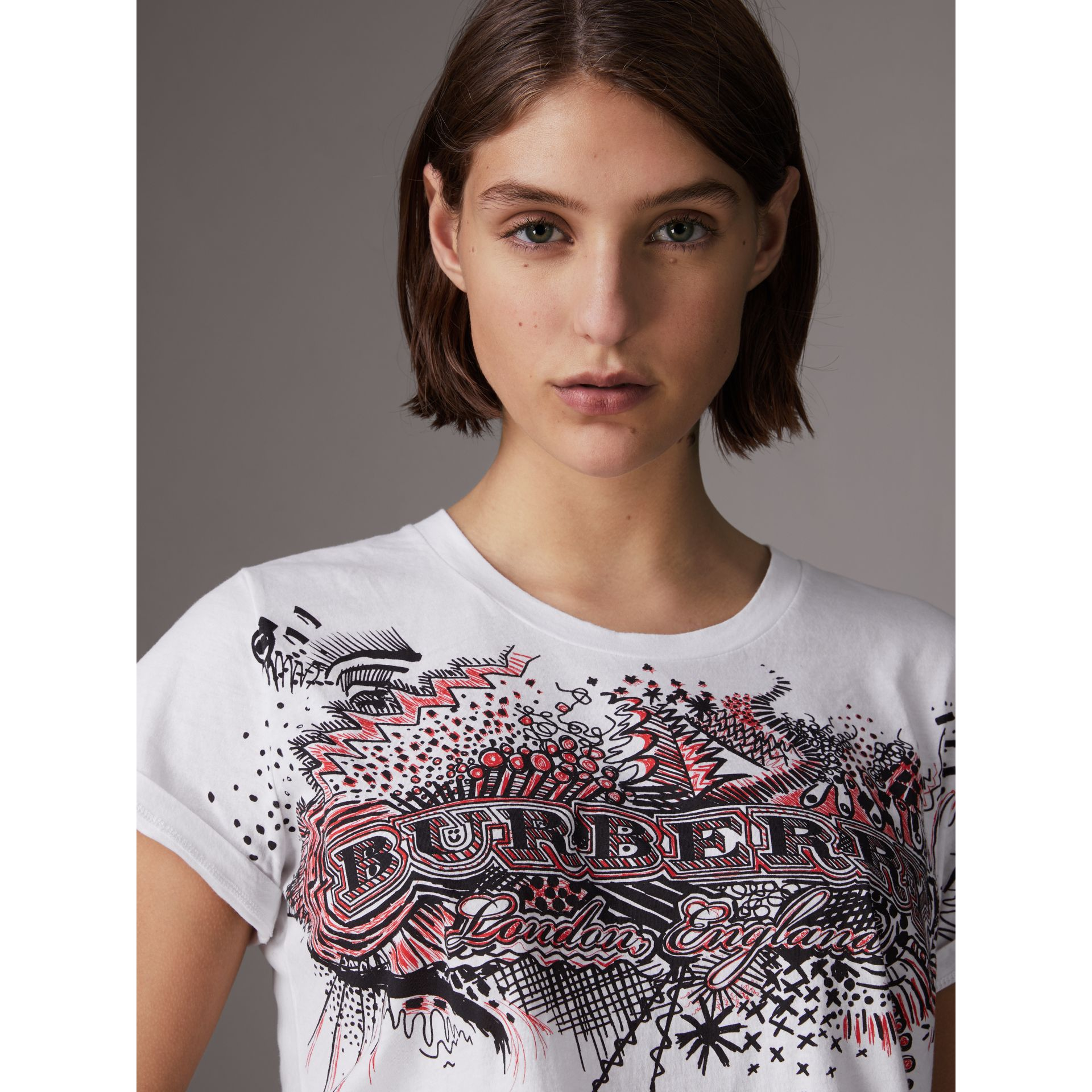 Doodle Print Cotton T-shirt in White - Women | Burberry - gallery image 1