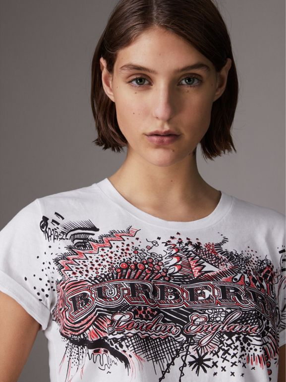 Doodle Print Cotton T-shirt in White - Women | Burberry - cell image 1